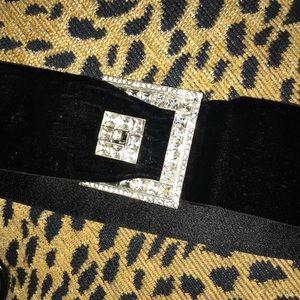 Stunning Art Deco velvet and rhinestone belt